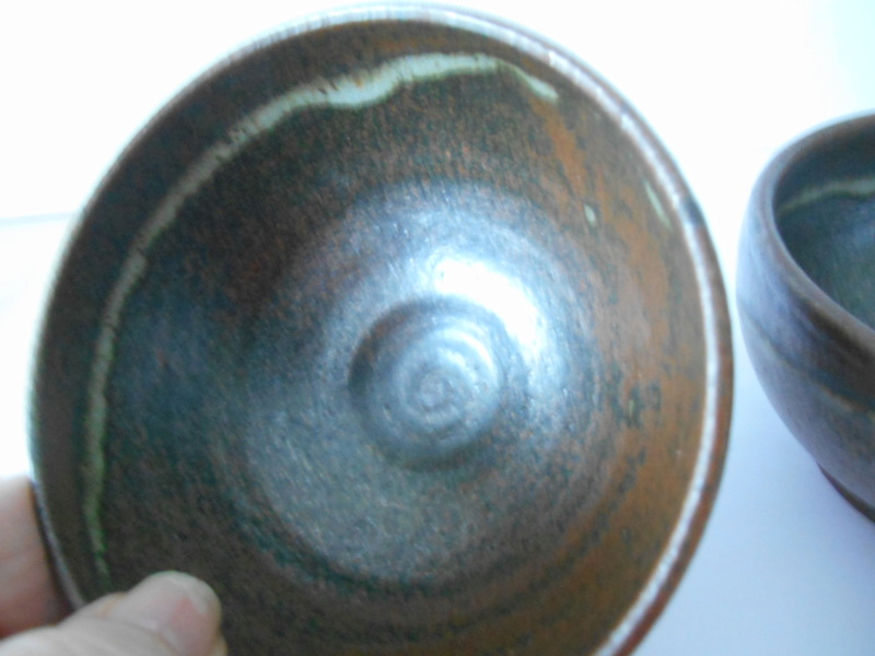 2 Small Tea Bowls Tenmoku & Nuka ? Glazes Y ? inscribed marks Dscn2312