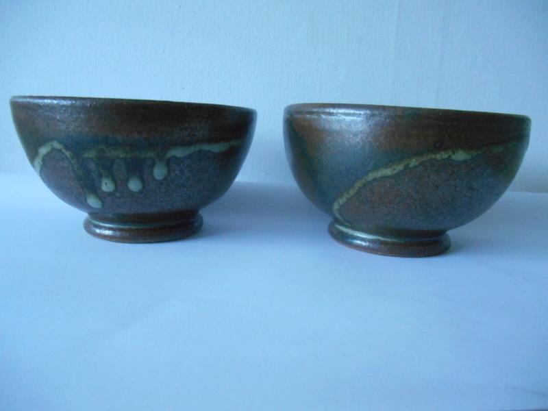 2 Small Tea Bowls Tenmoku & Nuka ? Glazes Y ? inscribed marks Dscn2313