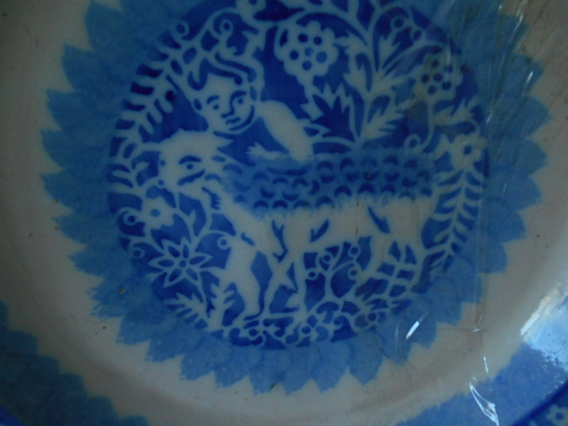 English? Blue & White 17th Century? Tin Glazed? Spongeware plates  Dscn6112