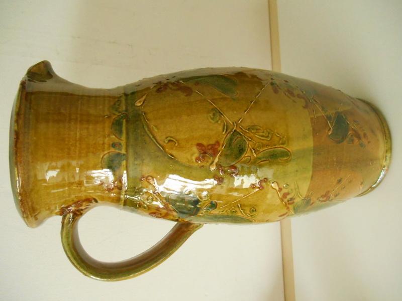 Slipware Jug- Hatched Design.No Marks. Anyone recognise the Potter please? Dscn6811