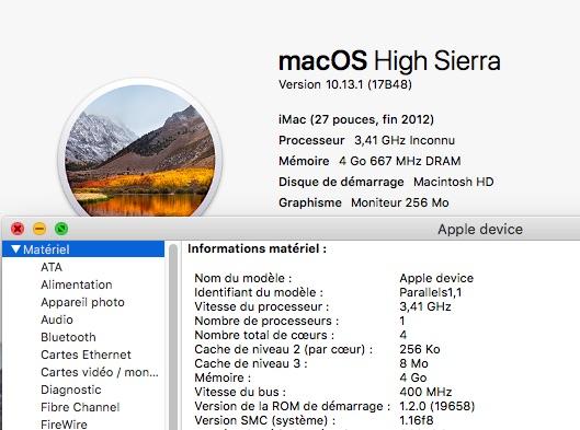 MacOS dans une VM avec Parallels Desktop Lite Parall11