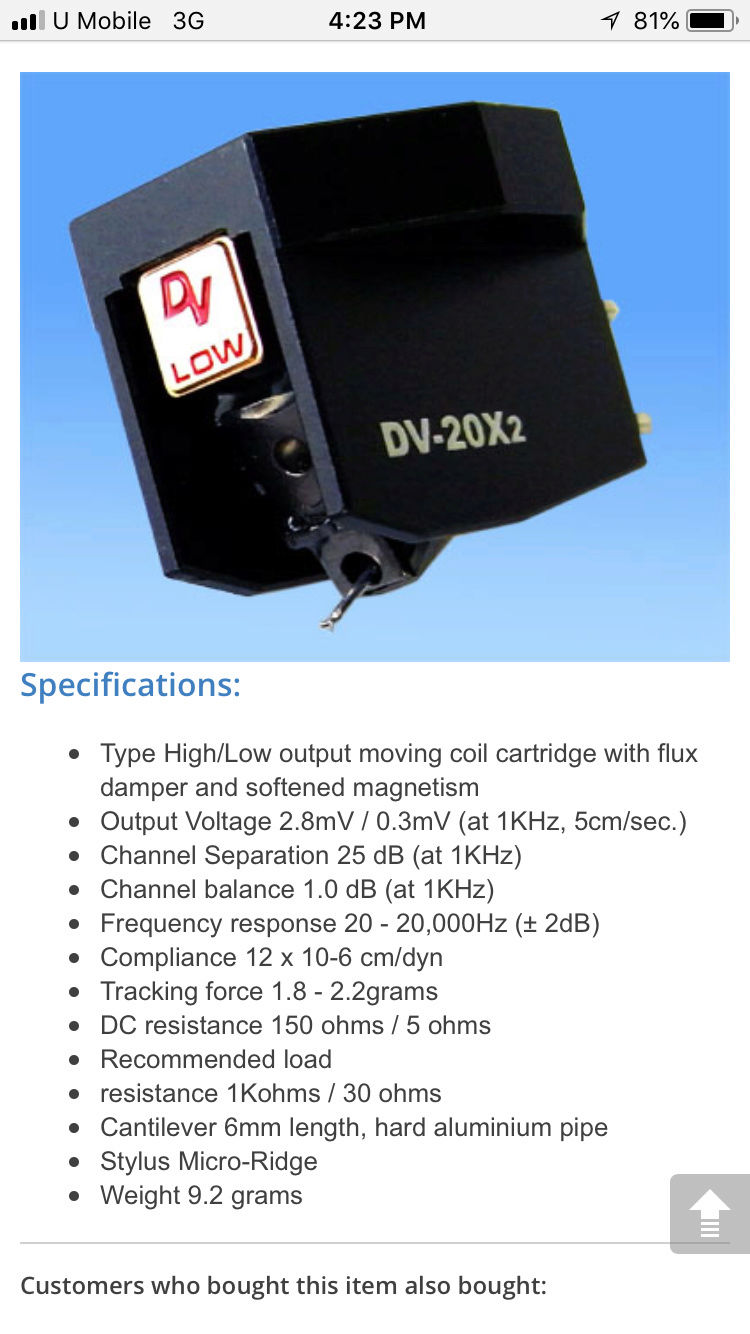 Dynavector DV-20X2 Low Output MC Cartridge (used) SOLD Img_6114