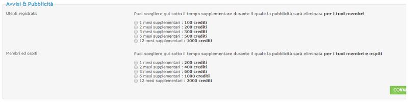 Togliere pubblicità acquistando dei crediti Immagi11