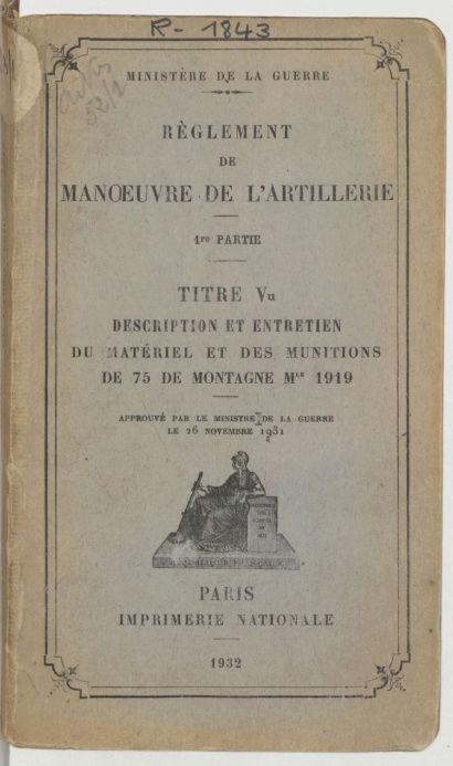 Recherche de plans : Canon de 75mm de montagne Mle 1919-1928 Captur37