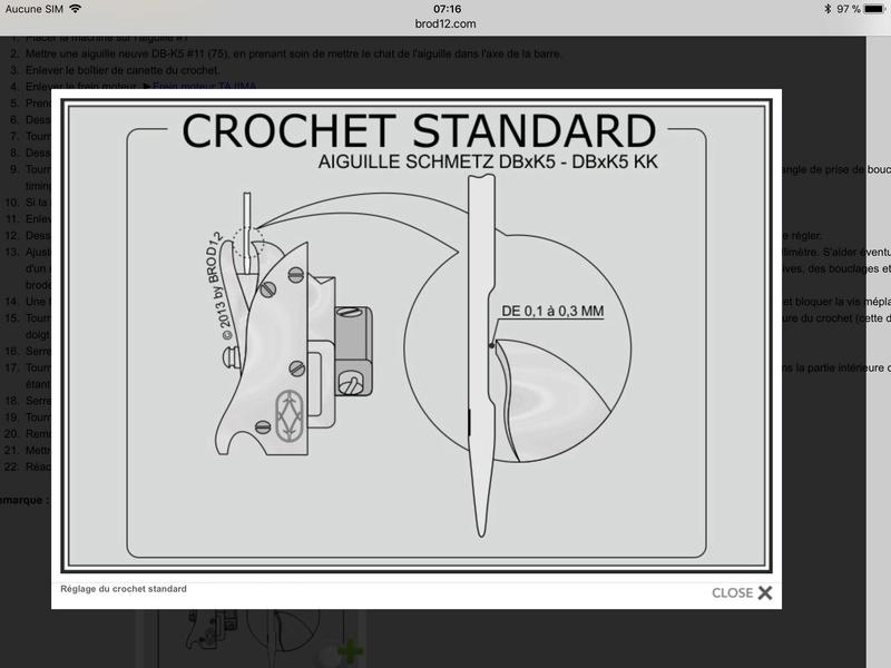 3/ Réglage de l'affleurement du crochet et de l'aiguille (Hook Needle Clearance) : A3837e10
