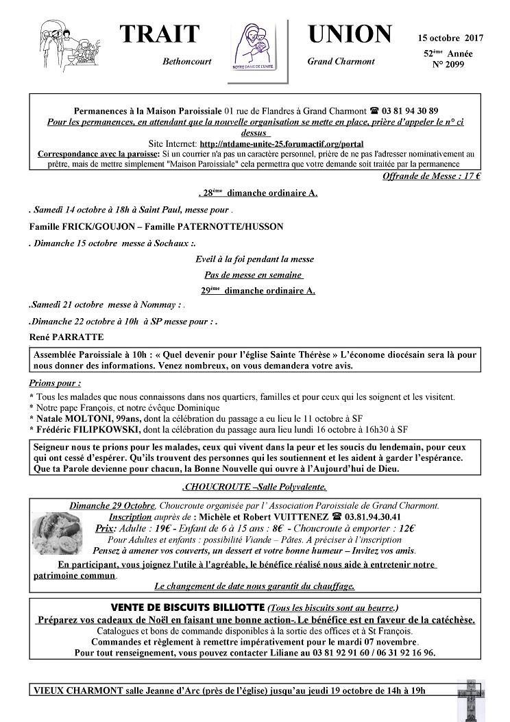Trait d'Union du 15 octobre 2017 Tu171010