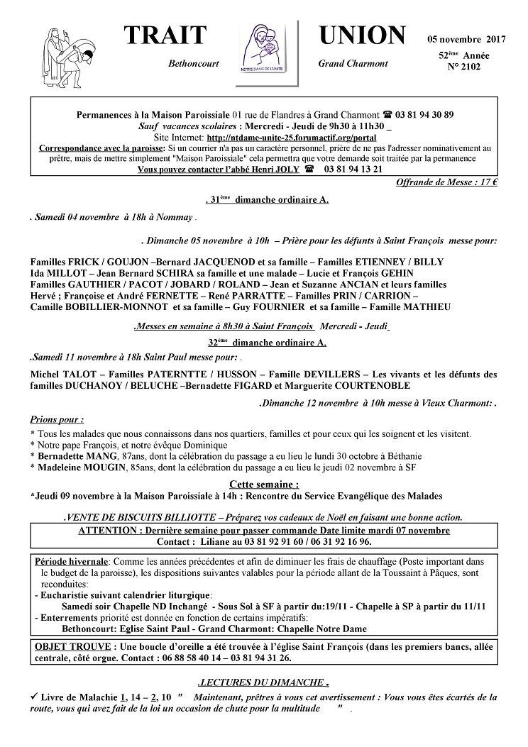 Trait d'Union du 5 novembre 2017 Tu171110
