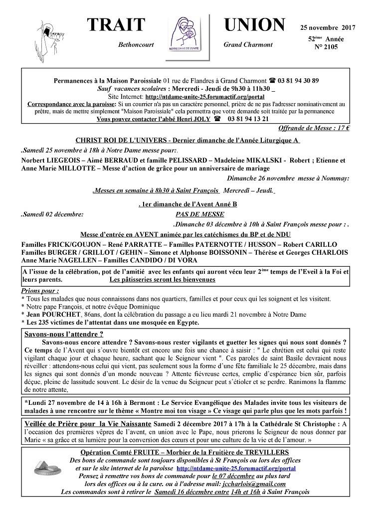 Trait d'Union du 26 novembre 2017 Tu171116