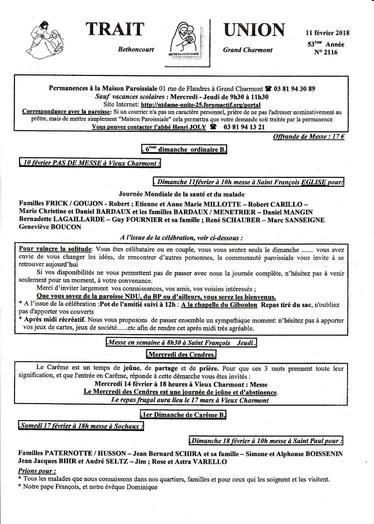 TRAIT d'UNION du 11 février 2018 Tu180212