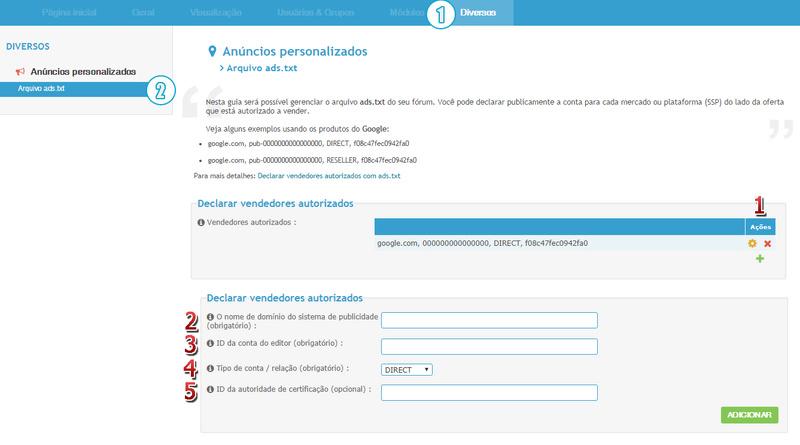 [FAQ] Configurar o arquivo de publicidade ads.txt do fórum Acp10