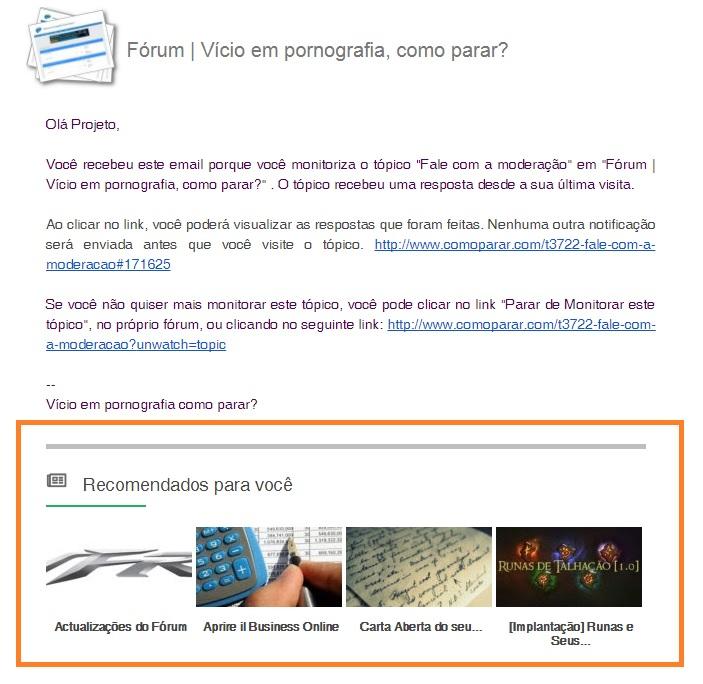 """Como desativar """"Recomendado para você"""" nos e-mails  Print12"""