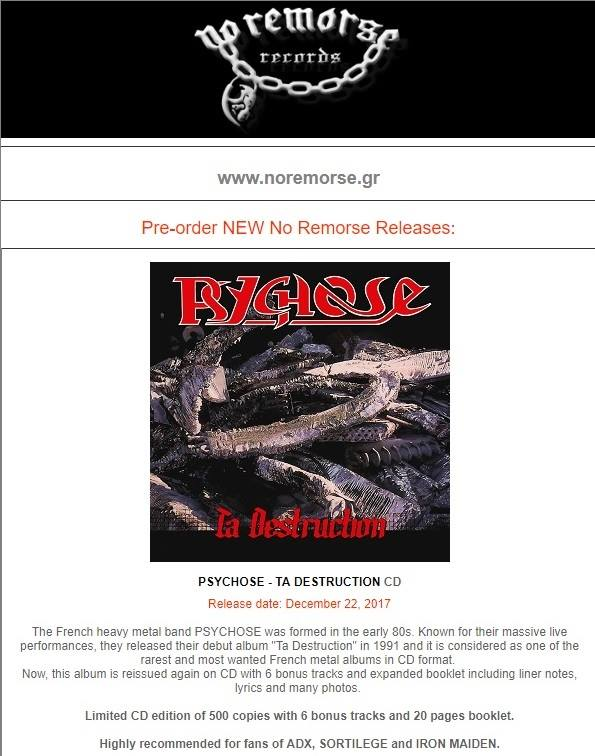PSYCHOSE Ta destruction (1991-2017) Edition No Remorse Records (Christophe Bailet) 24131410
