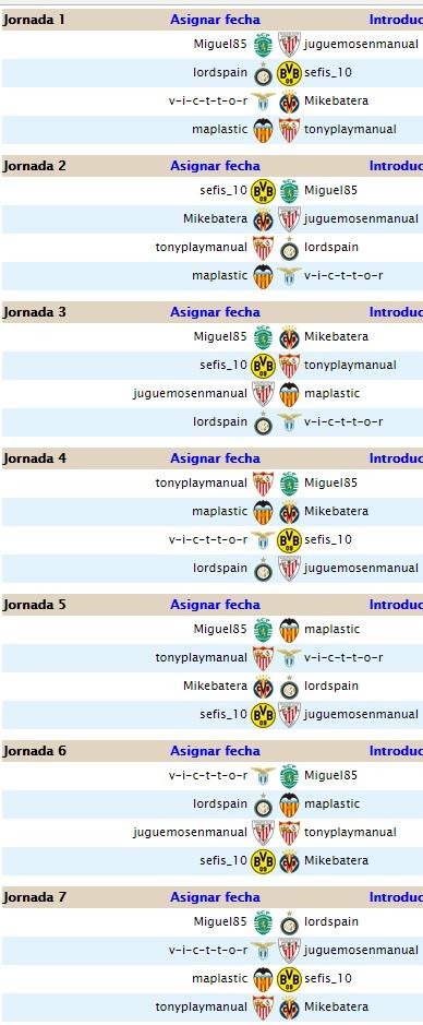 Liga 4.5 Segunda temporada ( Jornadas 1 y 2) Calend16