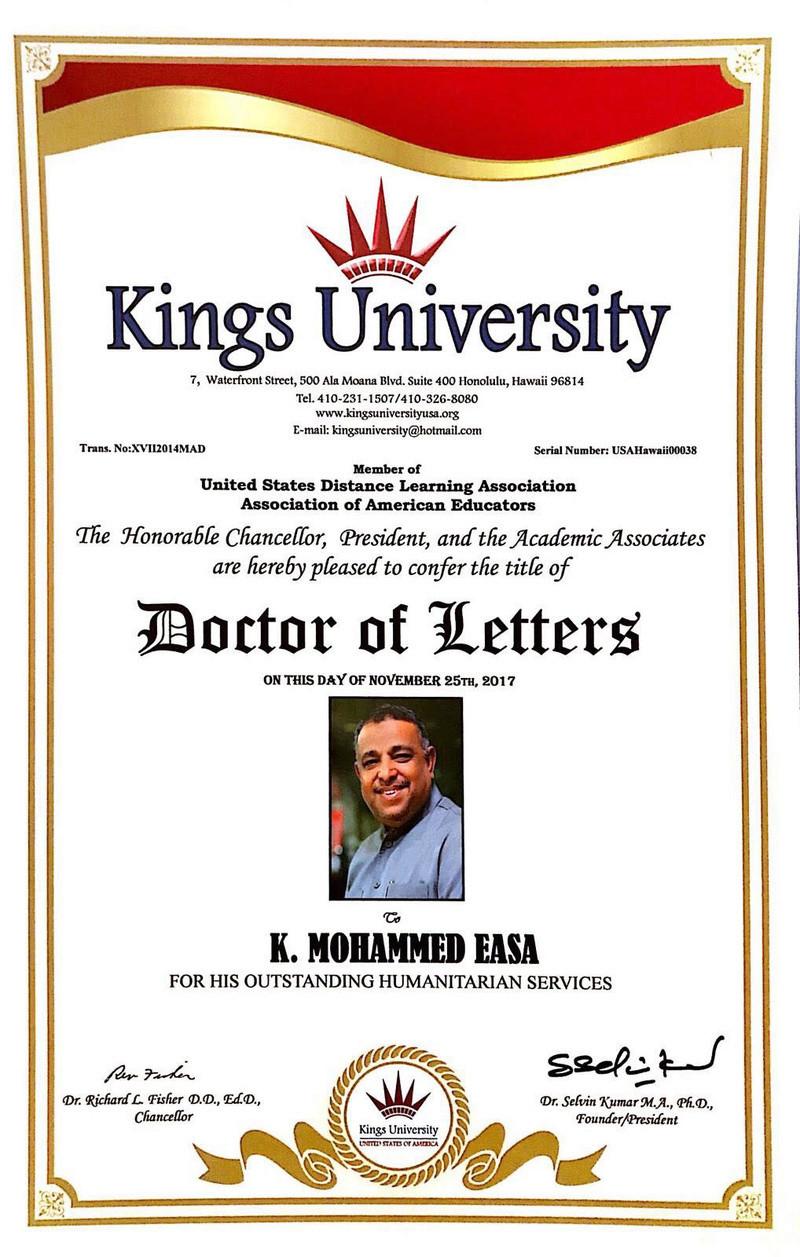 kings usa university in சிறந்த மனிதநேயத்திற்கான விருது கேரளாவை  சேர்ந்த முஹம்து ஈசாவிற்கு.  Dd10