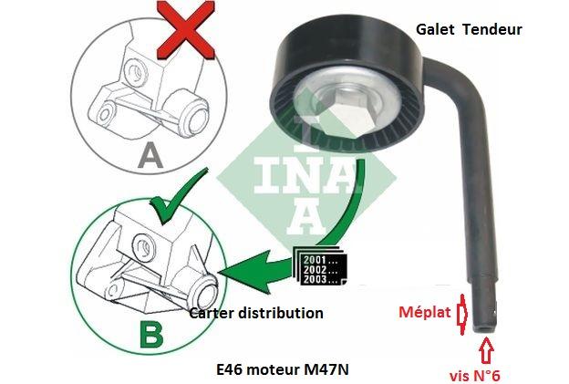[ BMW E46 320D M47N an 2004 ] Changer galet tendeur courroie accessoires 11_m4710