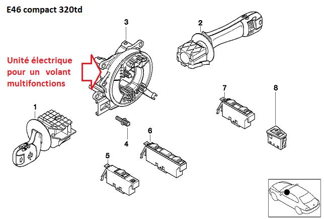 [ BMW E46 Compact 320d an 2004 ] Commande au volant et Klaxon ne fonctionnent plus 61_e4611