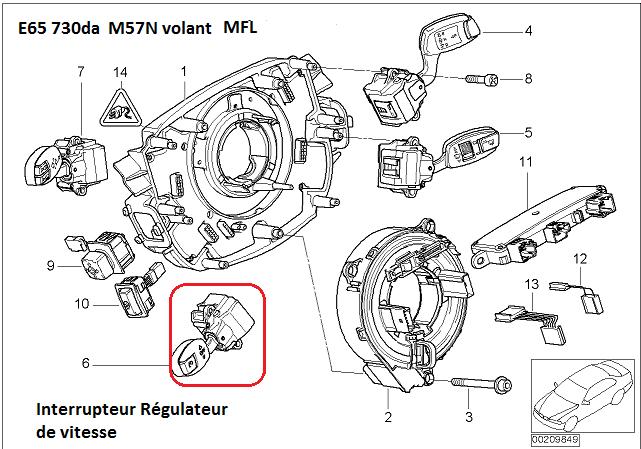 [ Bmw E65 730 da M57N an 2002 ] régulateur de vitesse en panne. 61_e6511