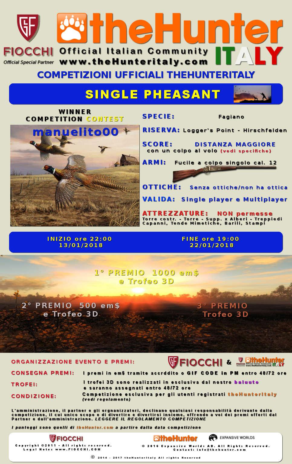 [CONCLUSA] Competizioni ufficiali TheHunteritaly - Single Pheasant/manuelito00 contest  - Fagiano - Manuel10
