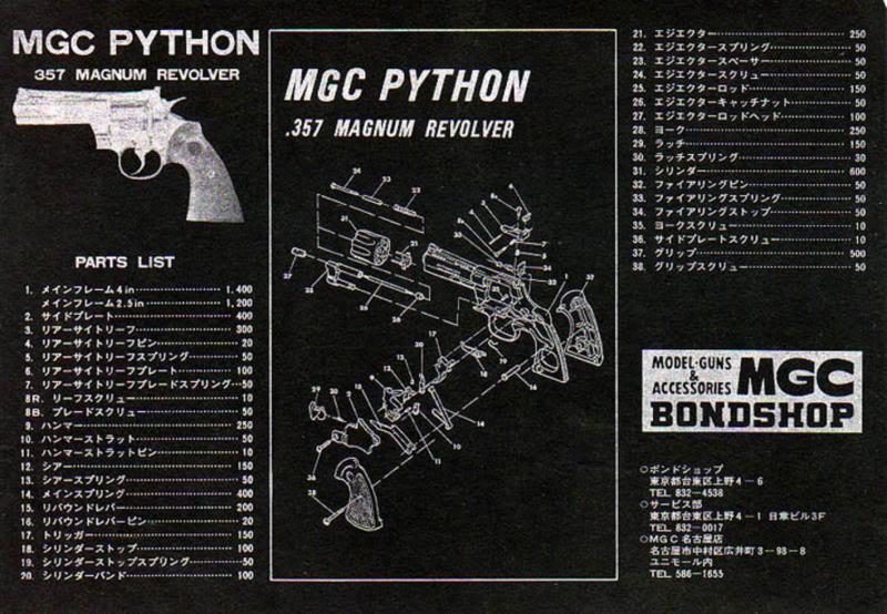 MGC 357 MAGNUM COLT PYTHON Exploded Diagram Mgc35711