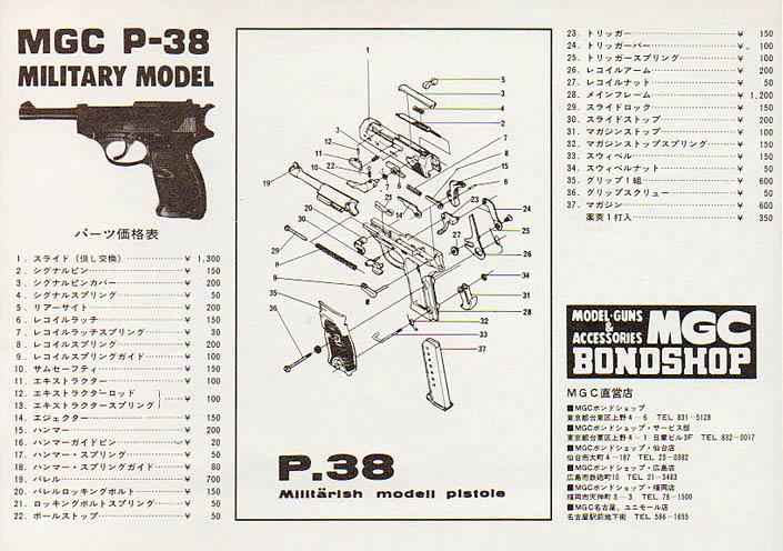 MGC P38 MILITARY Exploded Diagram  Mgcp3810