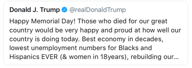 Trump makes Memorial Day all about....Trump A8946110