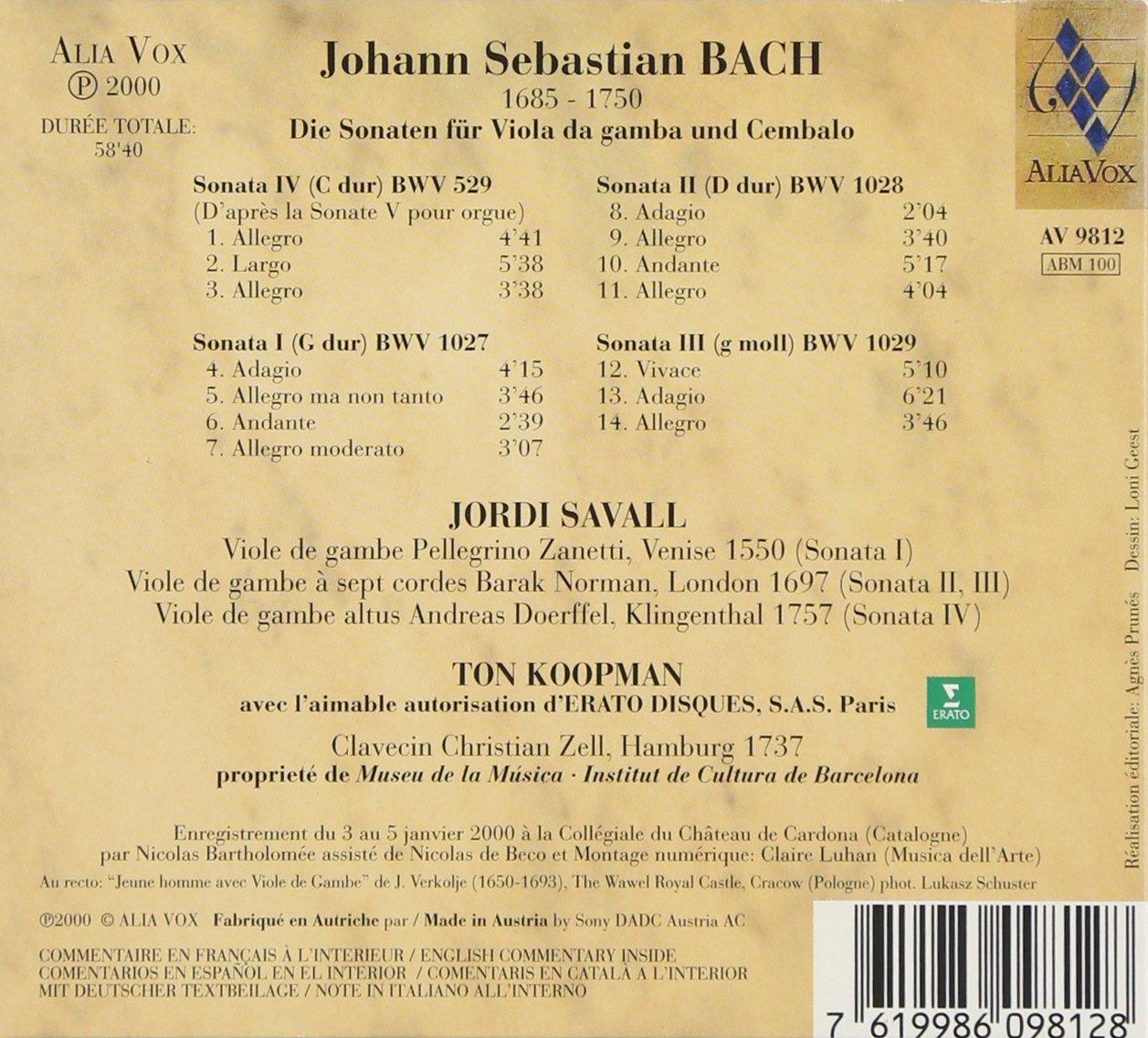 Bach JS. Sonates pour viole de gambe et clavecin 71hew010