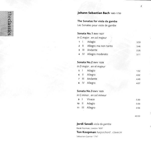 Bach JS. Sonates pour viole de gambe et clavecin R-504210