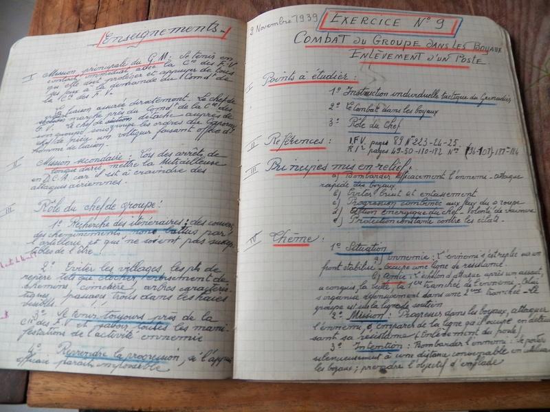 cahier d'exercices de combats pour officier 1939/1940 d'un élève de l'EMICC 100_0012