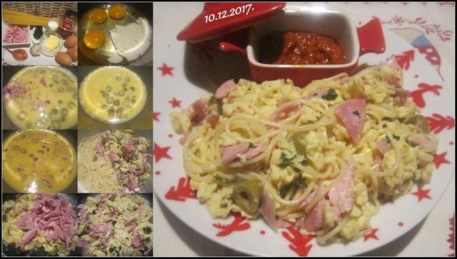 Spaghettis.omelette brouillée aux olives.jambon.échalotes.  24909510