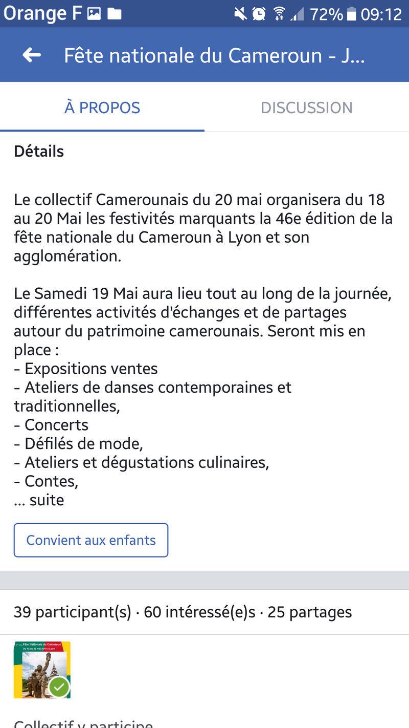 Fête nationale du cameroun a Lyon du 18 au 20/05 Screen13