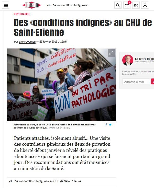 maltraitance CHU Saint-Etienne - libération