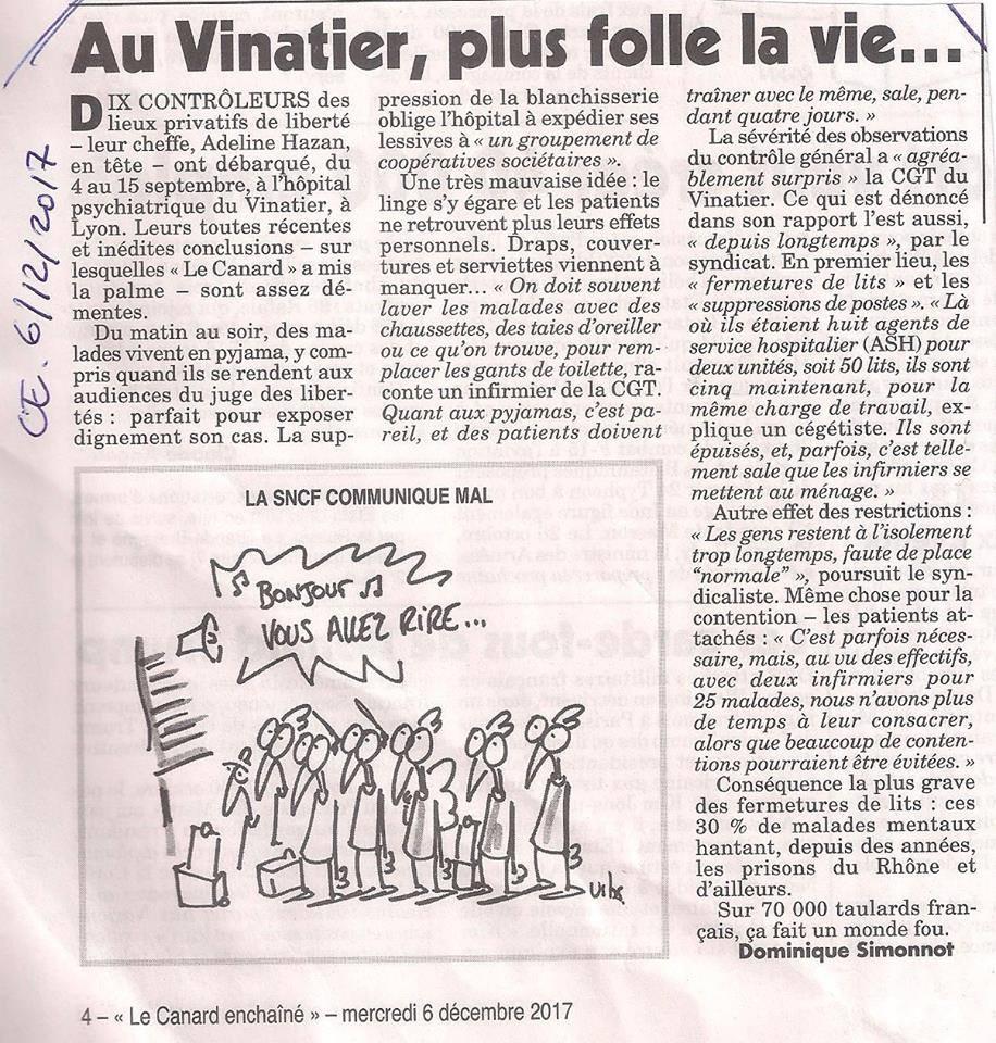 Le Vinatier 2017 canard enchaîné
