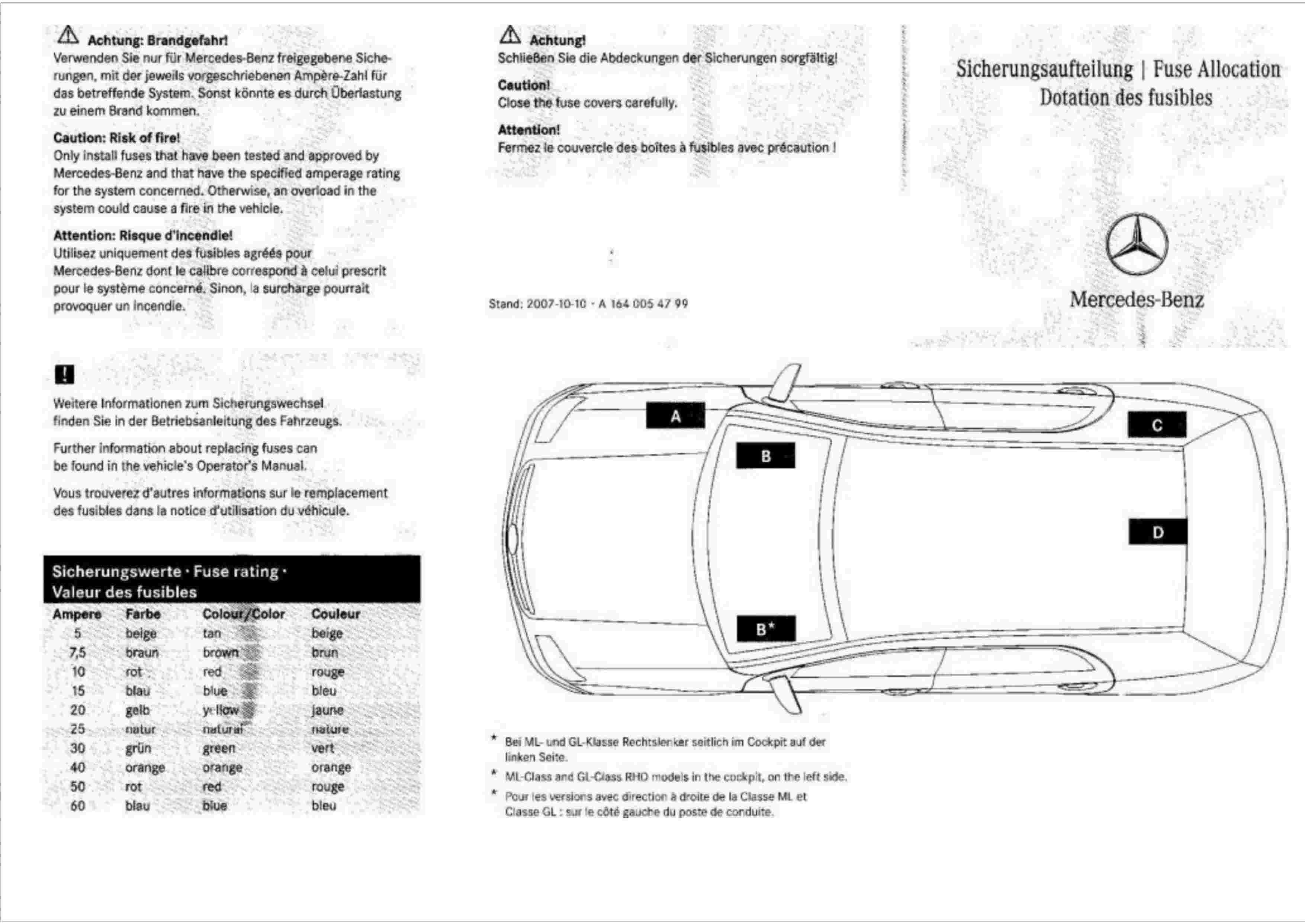 (W164): Diagrama de fusíveis  0001_310