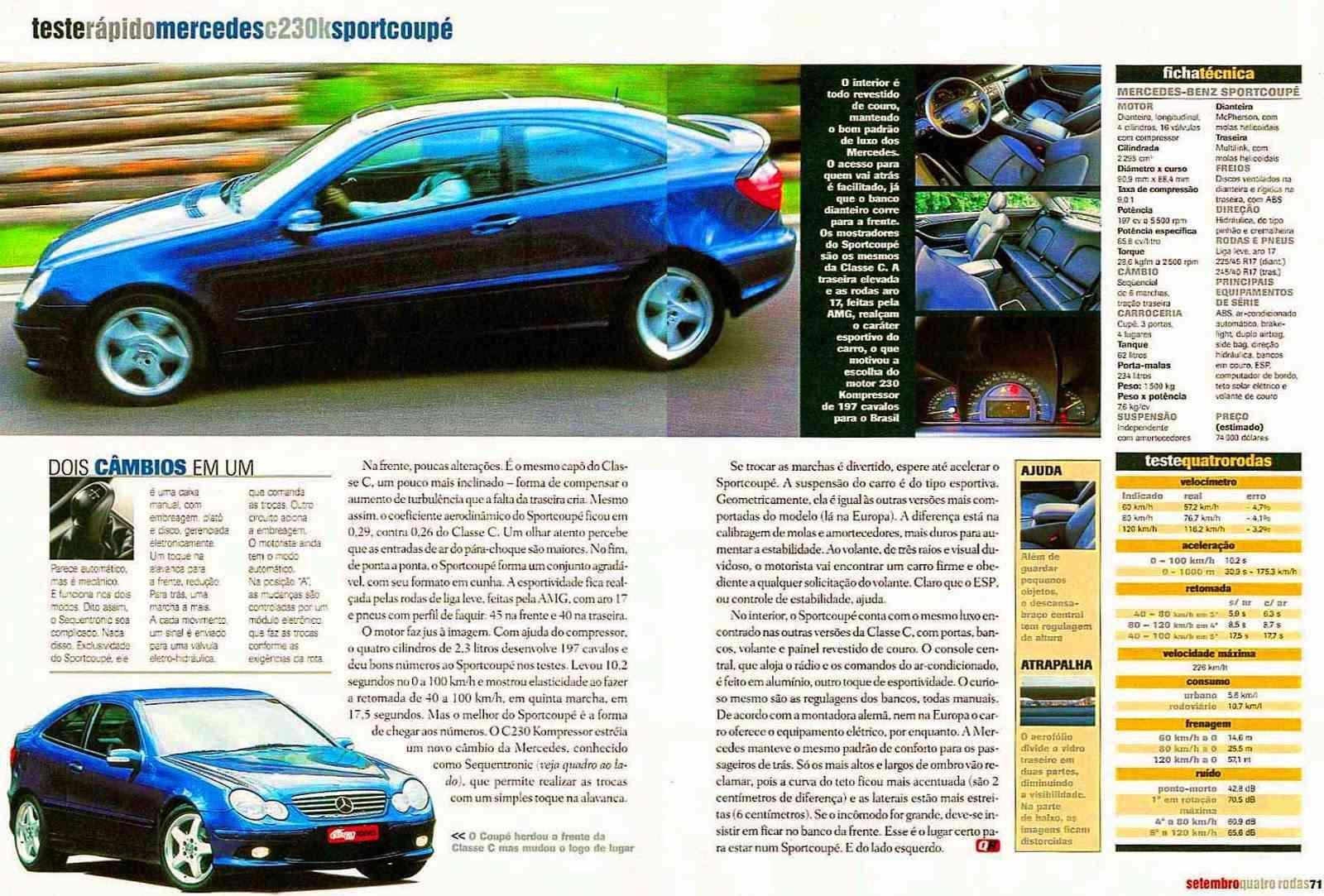 (CL203): Avaliação Revista Quatro Rodas - CLC 230K - setembro de 2001 15b72c10