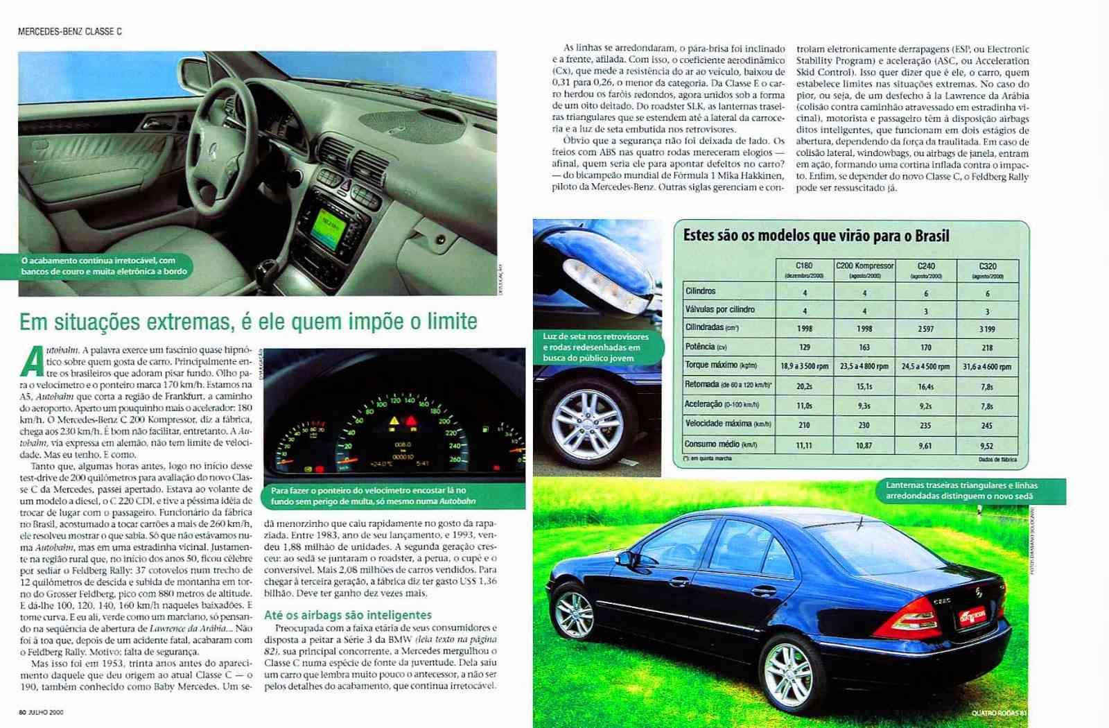 (W203): Avaliação Revista Quatro Rodas - C320 - julho de 2000 46d5e810