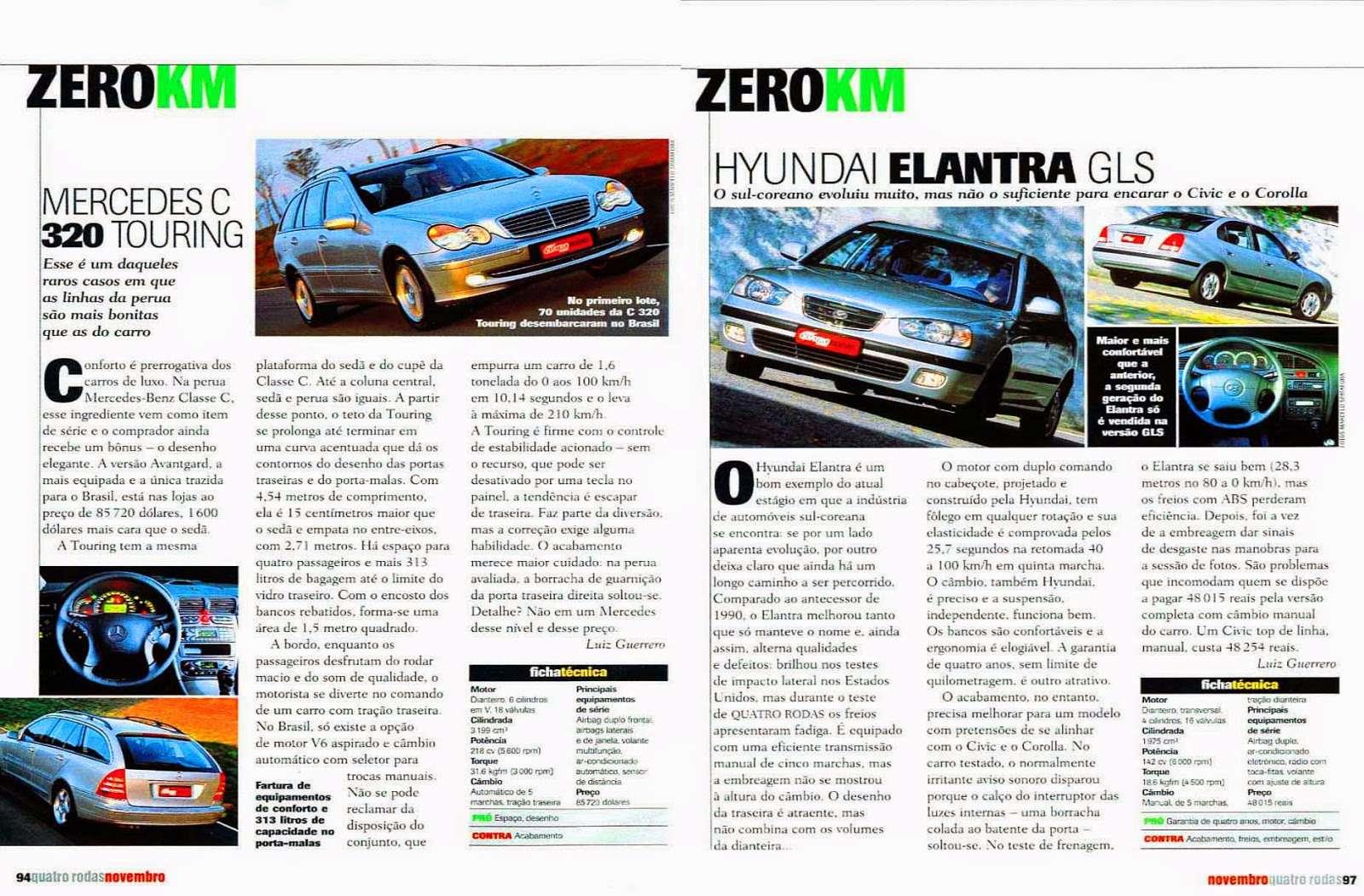 (S203): Avaliação Revista Quatro Rodas - Classe C320 perua - novembro de 2001 72cb3c10