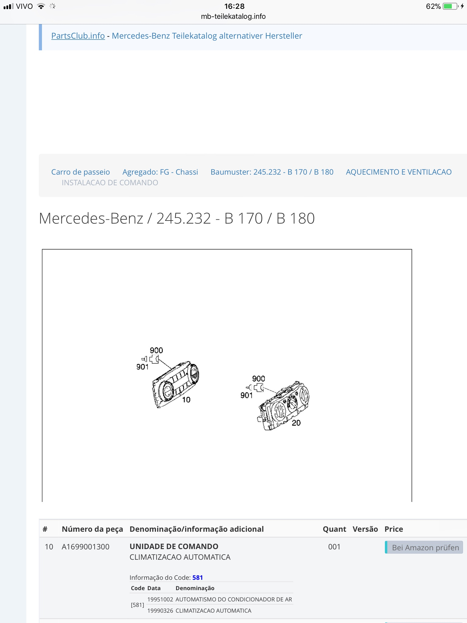 (COMPRO): Unidade de controle do ar-condicionado A169 900 1300 para Classe B200 ano 2006 9d716710