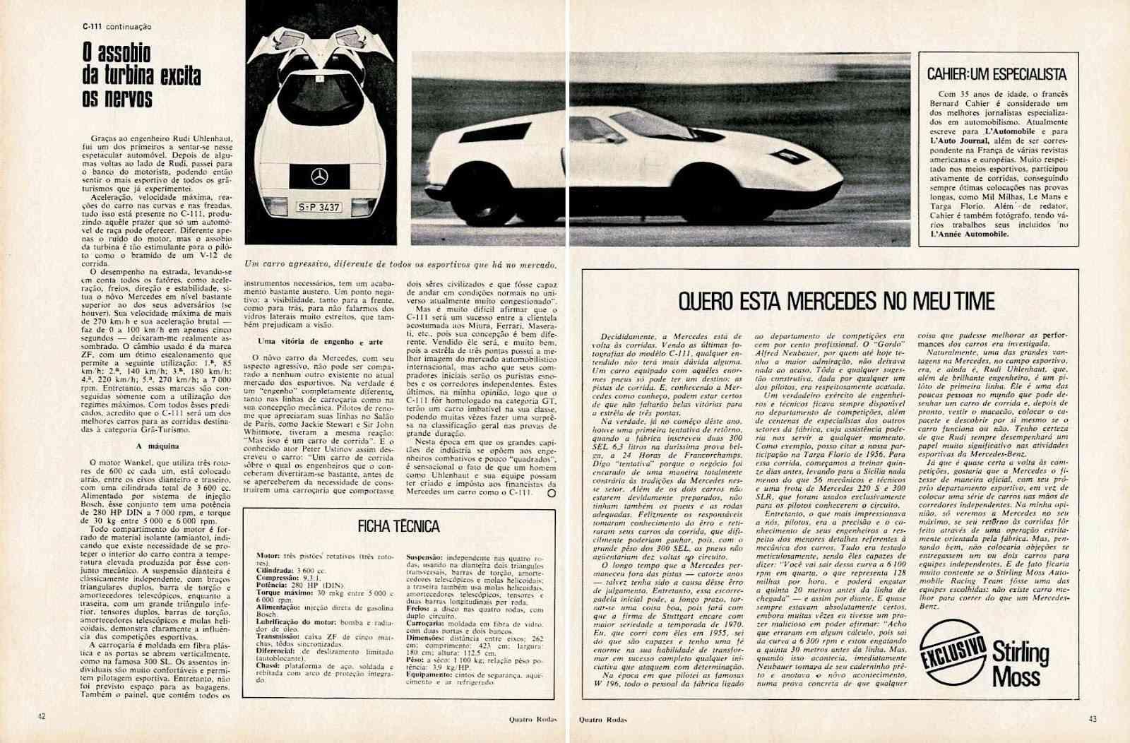 Matéria C111 Revista 4 Rodas com avaliação de Stirling Moss - NOV/1969 C9afe410