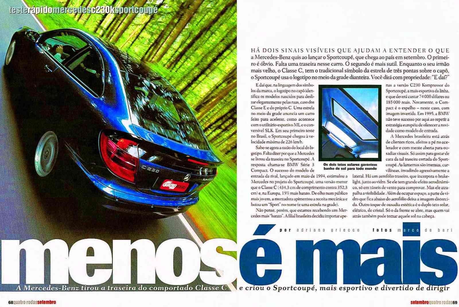 (CL203): Avaliação Revista Quatro Rodas - CLC 230K - setembro de 2001 Dc26a310