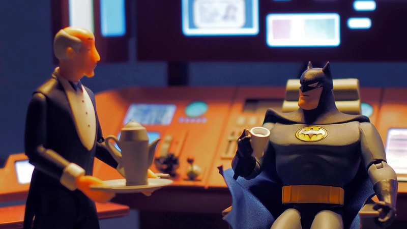 DCC Batman Animated Series Batcave Playset ft. Alfred & Batmobile Csrdto10