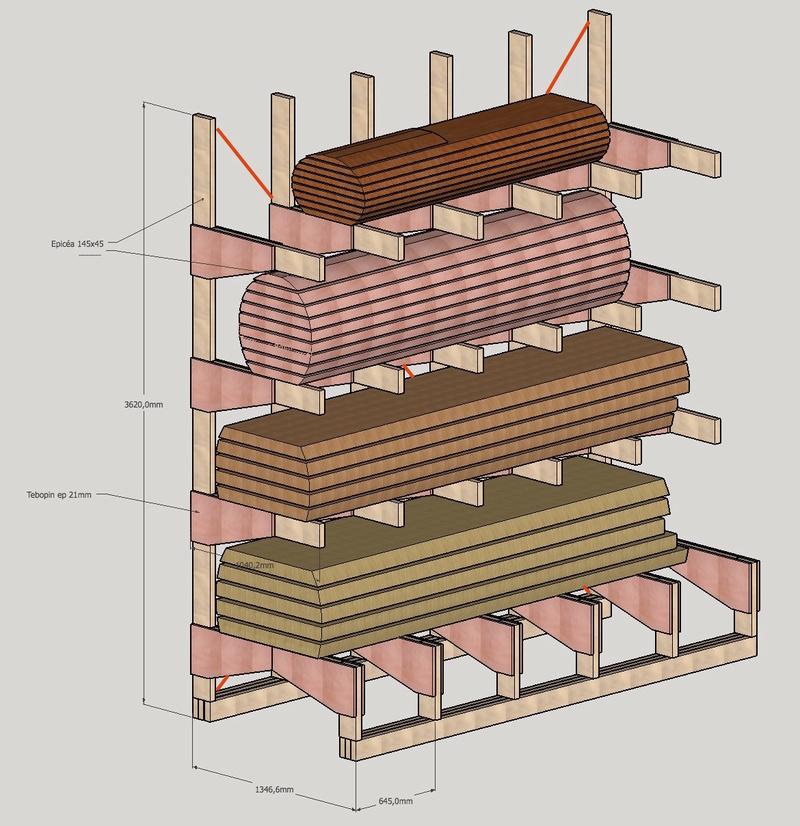 Stockage de plots sur rayonnages Cantilever Intérieur et Extérieur Stocka11