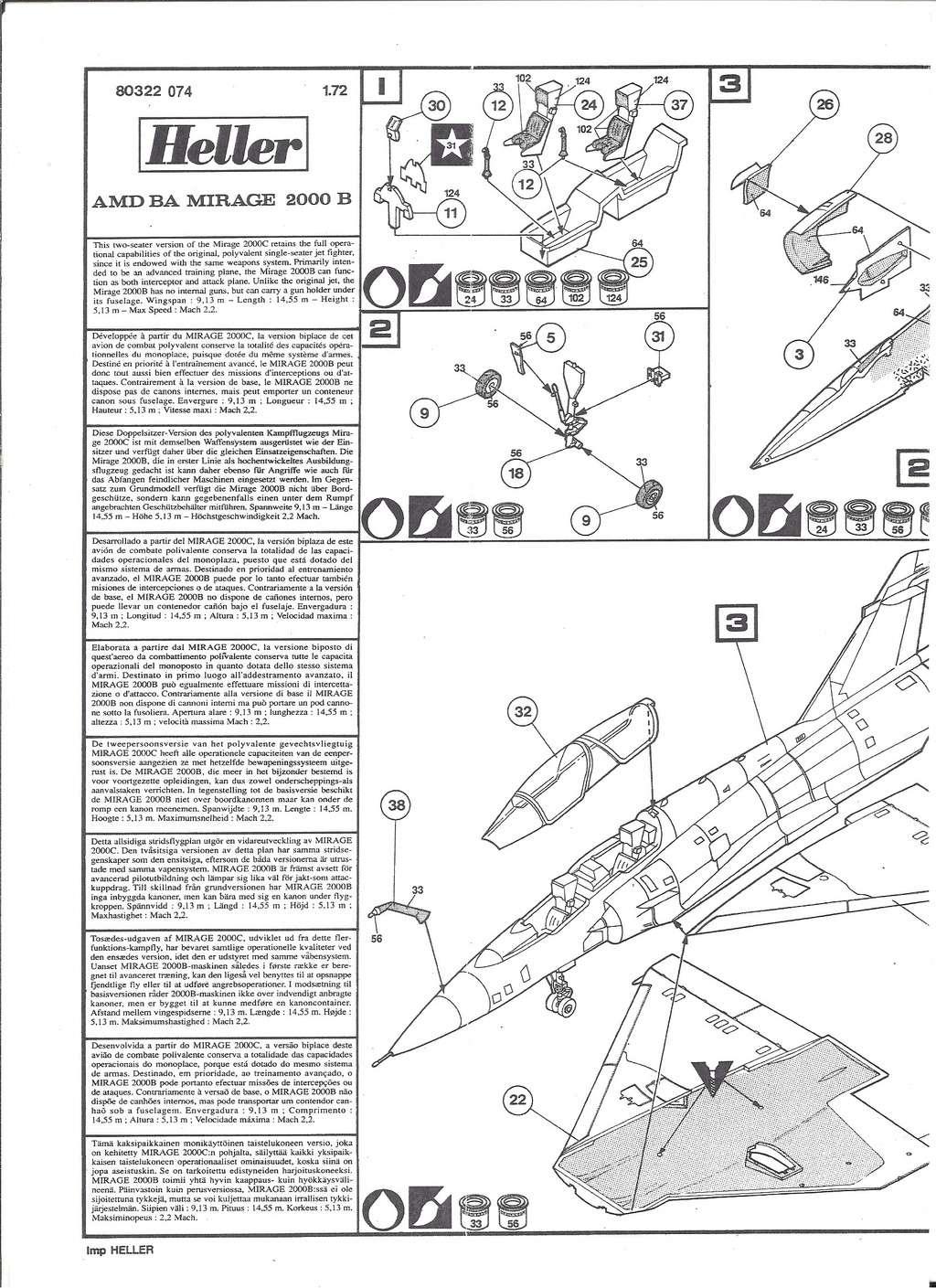 DASSAULT MIRAGE 2000 B 1/72ème Ref 80322 Notice Hell1037