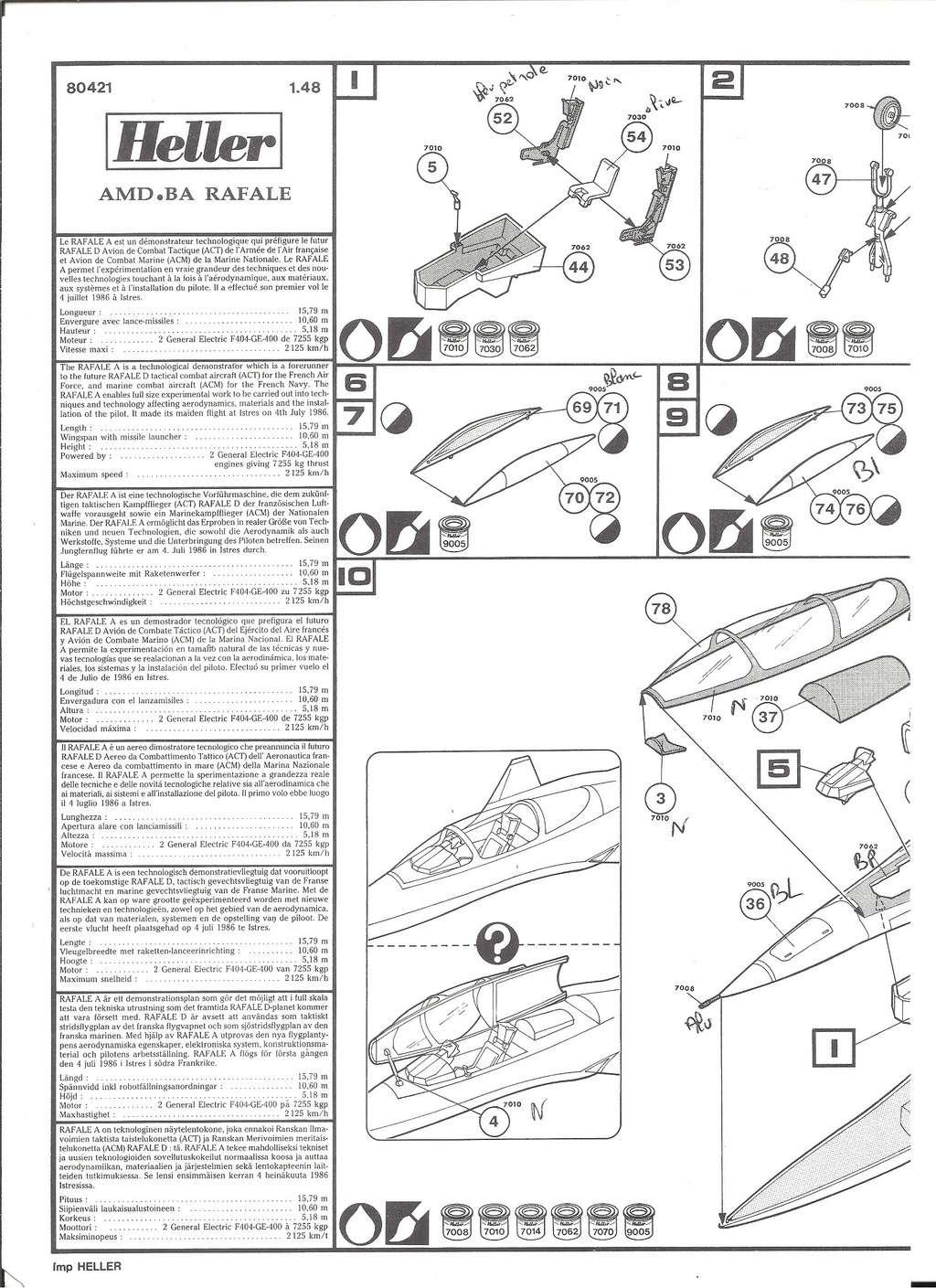 DASSAULT BA RAFALE 1/48ème Ref 80421-Notice Helle521