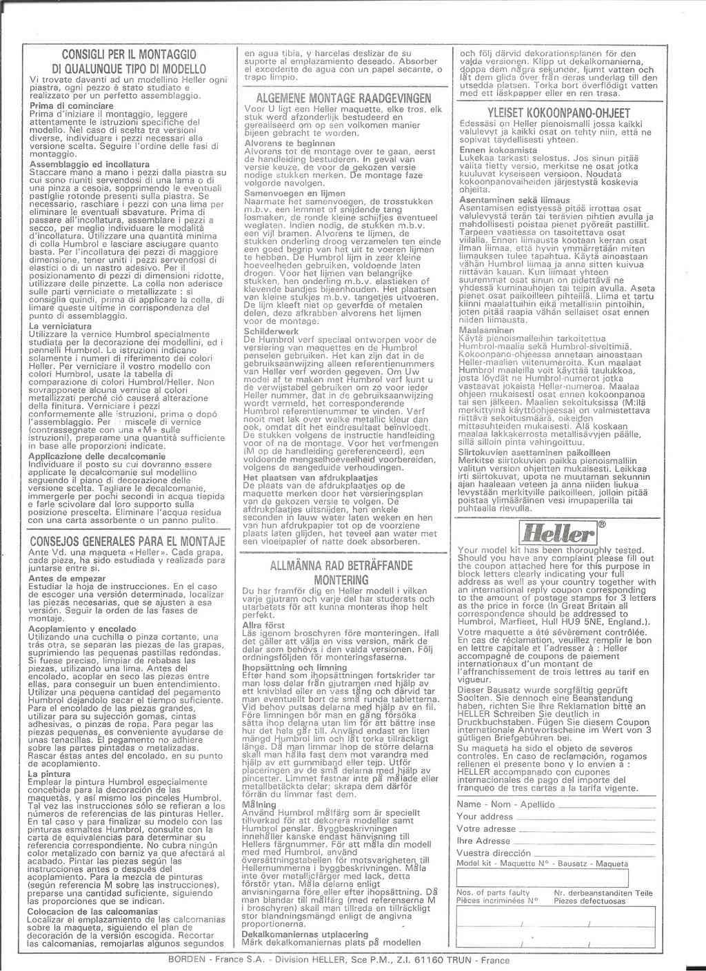 DASSAULT BA RAFALE 1/48ème Ref 80421-Notice Helle523
