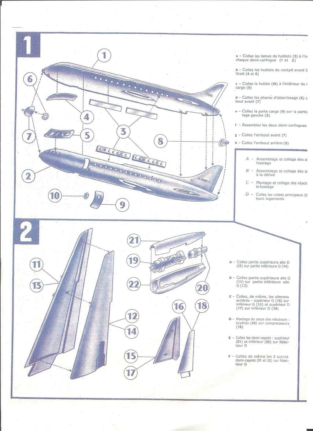 SUD AVIATION SE 210 CARAVELLE 1/100ème Réf RL318 Notice Helle584