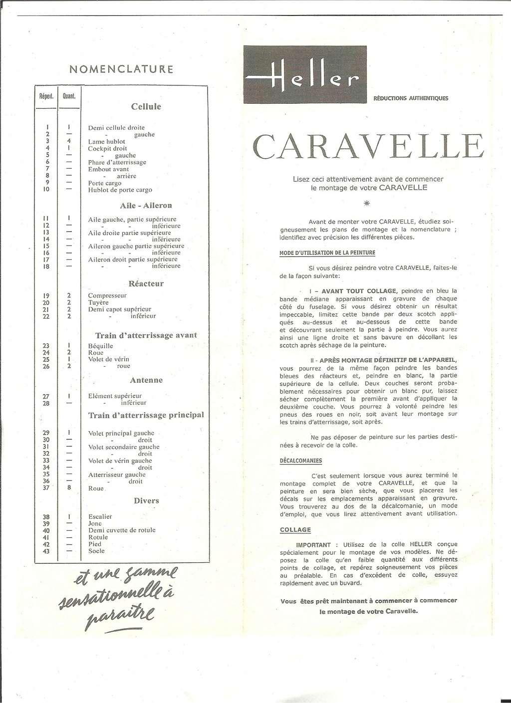 SUD AVIATION SE 210 CARAVELLE 1/100ème Réf RL318 Notice Helle587