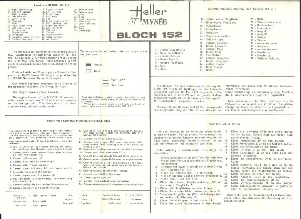 BLOCH MB 152 C1 Ref .... 1/72ème Notice Helle856