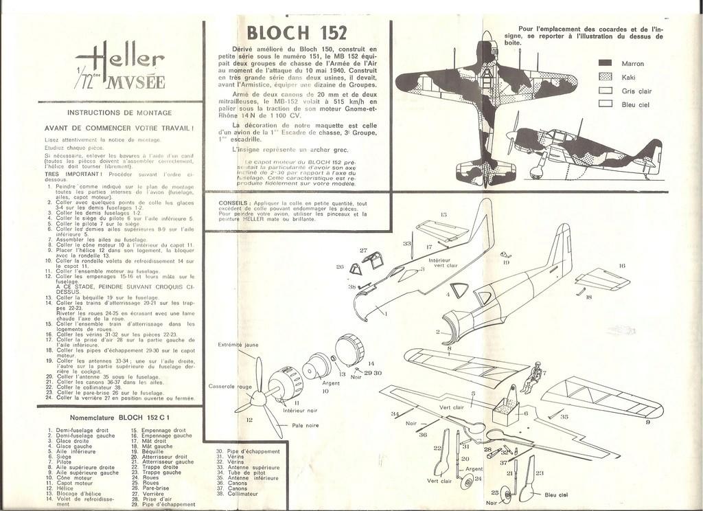 BLOCH MB 152 C1 Ref .... 1/72ème Notice Helle857