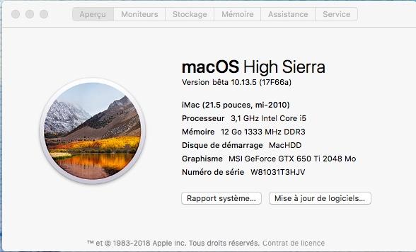 Beta macOS High Sierra Beta 10.13 1 (17B46a) a 10.13.2 Beta et +++ - Page 2 228