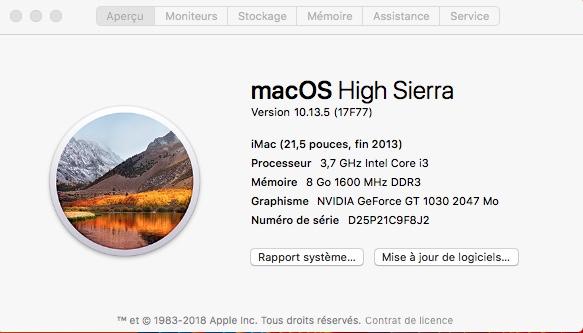 Mise a jour macOS High Sierra 10.13.5 (17F77) 231